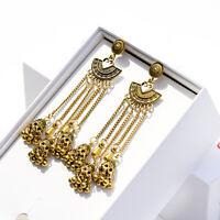 Women Gold Carved Tassel Bells Drop Gypsy Indian Jhumka Ethnic Earring Jewelry