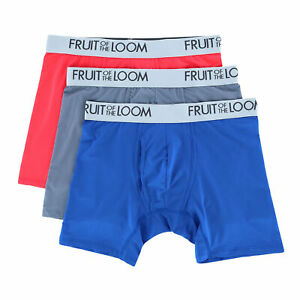 New Fruit of the Loom Men's Everlight Assorted Boxer Briefs (3 Pack)