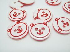 10 Red Bear Buttons 13mm (1/2 inch) Resin Animal Baby Clothing Buttons