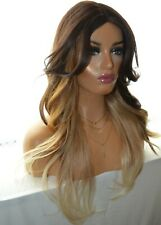 32 INCH LONG OMBRE BLONDE BROWN HUMAN HAIR BLENDED WIG WAVY BALAYAGE CUT LACE