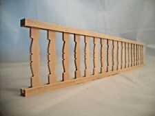 "Railing w/ Flat Balusters - 2"" x 12""long - porch dollhouse 1/12 scale - CLA70248"