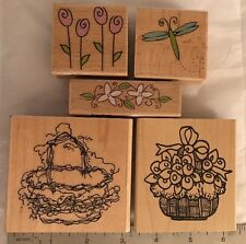 Lot of 5 Wood Mounted Rubber Stamps by Katie Co. Annette Watkins Floral Basket