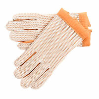 Mens Ladies Tan Super Soft Genuine Real Leather Crochet Driving Gloves Tan