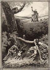 EAU FORTE / Fables de la Fontaine 1883 / LE CHAT ET LE RENARD