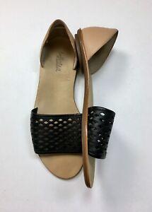 $250 Loeffler Randall 11 Black Laser Cut Tan Leather Open Toe Flat Sandals Flats