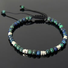Men's Mixed Chrysocolla Lapis Bracelet Reiki Chakra Stones Handmade 925 Silver