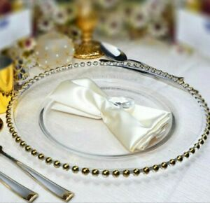 GOLD GLASS CHARGER PLATE BEADED WEDDINGS DECOR PARTIES **33CM DIAMETER**