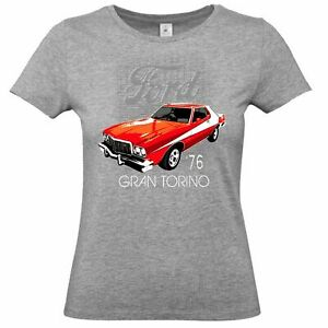 Ladies Ford Licensed T-Shirt American Classic Vintage Muscle Car Gran Torino