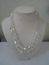 "Short Retro Vintage Double Glass Bead 14"" Choker Necklace"