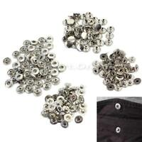 50 Pcs 10mm Silver Metal Snap Press No Sewing Buttons Fasteners DIY Arts Craft