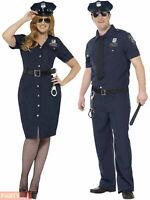Mens Ladies Police Cop Costume Plus Size Policewoman Policeman Fancy Dress PC