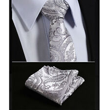 Sale Men's Tie Gray Silver Black  Paisley Floral Silk Wedding Gift FREE Hanky