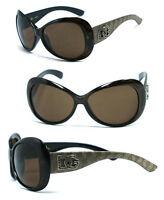 DG Ladies Women Butterfly Shape Sunglasses - Champagne Frame/ Brown Lens DG156