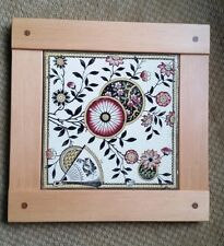 "Antique aesthetic movement japonesque 6 x6"" tile Dovecote Woodworking fir frame"