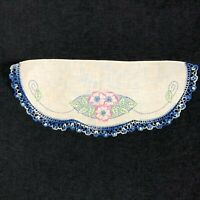 Crochet Lace Embroidered Linen Table Lay Floral Blue Pink Shabby Chic Farmhouse