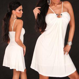 Sommerkleid Riemen mit Pailletten Schnalle KouCla - Weiß