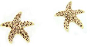 New Cream Enamel Topaz Brown Crystal Star Fish Stud Earrings In Gift Pouch