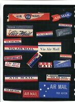 Vintage Airmail Etiquettes lot of 20 all different Via Air Mail Par Avion lot k