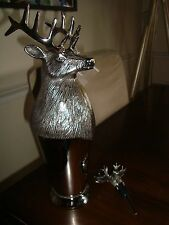 Pottery Barn Stag Cocktail Shaker + Moose Stopper  NEW