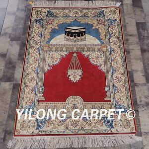 YILONG 2.8'x4' HandKnotted Prayer Islamic Muslim Carpet Silk Area Rug L64B