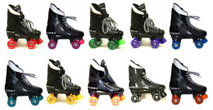 VENTRO TURBO Quad Roller Skates black boots with various colour wheels