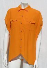 TWELFTH STREET by CYNTHIA VINCENT Orange Rayon Crepe Safari Blouse Shirt Top S