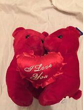 "2 teddy bears hugging Polyester 9"" I Love You red heart Bear Soft Plush"