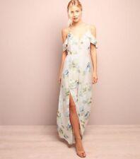 LOOK Pink Floral Split Side Cold Shoulder Maxi Dress Size UK 10 Dh087 GG 16