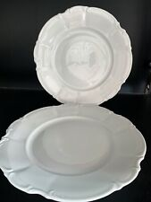 """2 PERFECT HUTSCHENREUTHER SYLVIA ALL WHITE LARGE DINNER PLATES   10 7/8"""""""