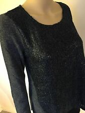 New Hem & Thread top sweater gray grey blue long sleeve angora polyester S