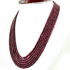 AAA 521.65 CTS NATURAL RICH RED RUBY 6 LINE ROUND CUT BEADS NECKLACE - STYLISH