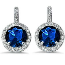Halo Blue Sapphire & Cubic Zirconia .925 Sterling Silver Earring