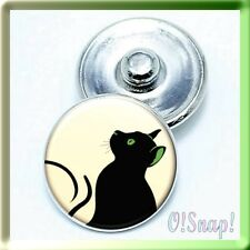(BUY 4, PAY FOR 2) ANIMAL GREEN EYE CAT Snap Button Charm