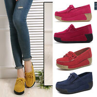 Women Shallow Pumps Suede Slip On Casual Flat Loafers Comfort Moccasins Shoes Sz