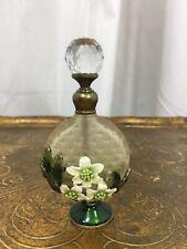 Vintage 1960's Green Flower Glass Perfume Atomizer
