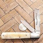 PARKER CUT CO ONE ARM RAZOR PILLBUSTER KNIFE MADE IN JAPAN VINTAGE BONE POCKET