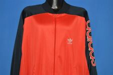 vintage 80s Adidas Black Red Polyester Warm Up Run Dmc Trefoil Track Jacket Xl