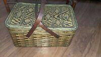 "Vintage Cookies Crackers metal tin litho picnic basket Wood Handles Large 16"""