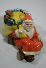 "Vintage Ceramic Santa Claus Sitting with Big Bag of Toys Figurine 6"" L, 3.25"" H"