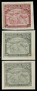 PANAMA (3) DIFF. ABNCo. PLATE PROOFS XF-SUPERB ON INDIA PAPER (EX-GREEN) HV5348