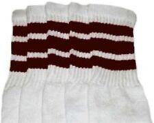 "25"" KNEE HIGH WHITE tube socks with DARK BROWN stripes style 1 (25-18)"