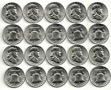 1 Roll__1952-P Franklin Half Dollar Coins__BU/UNC__90% Silver__#1213LD27