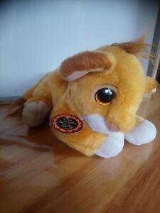 Peluche doudou Simba roi lion Walt Disney Mattel 1993 vintage avec son étiquette