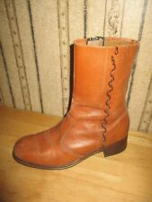 PRE-OWNED men's VINTAGE ARIETE brown leather boots - size 10 - IDEAL ZIPPER