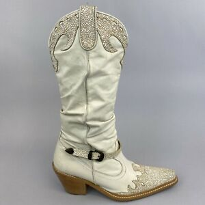 Vintage Moda In Pelle Leather Mid Calf Pull On Cowboy Western Boho Boots 37 UK4