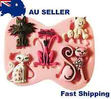 New 5 Cats Silicone Fondant Baking Mould Cake Cupcake Decorating Soap Mold Tool