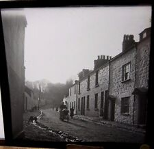 c1900 Stunning Photo WOMEN With PRAM on OLD Street WALES Glass Lantern Slide