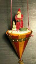 Midwest Cannon Falls Pam Schifferl Folk Art Santa Cone Container Ornament Ps