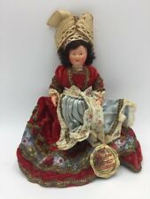 """Vintage Antique French France Celluloid Jointed Doll 8"""" Velvet Embroidered Dress"""
