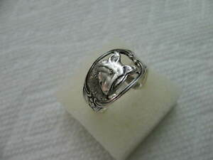 Antique Sterling Silver spoon RING s 11 1/4 WOLF / DOG Jewelry # 7188